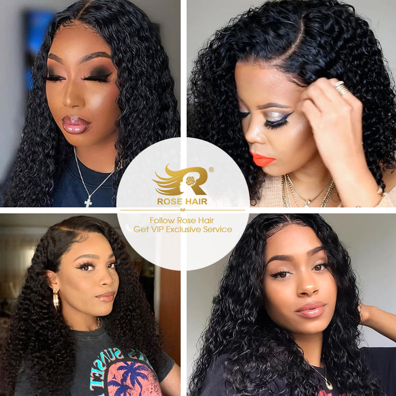 RoseHair 13x4 Lace Frontal Kinky Curly Affordable Brazilian Human Virgin Hair Wig - Rose Hair