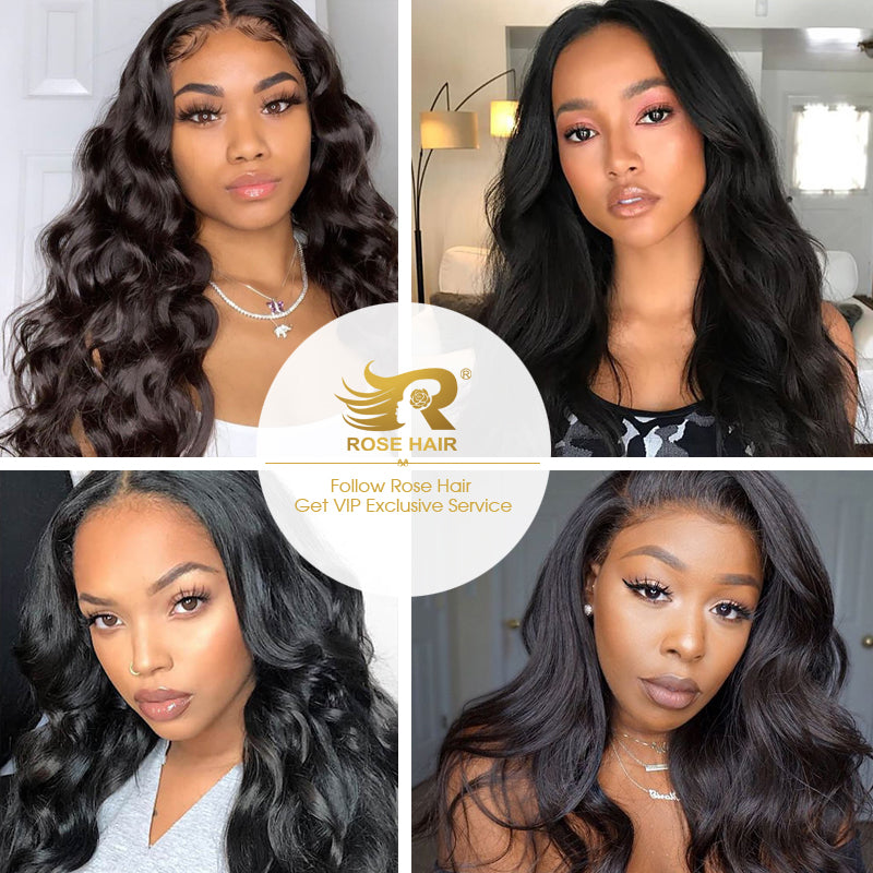 10A Grade Pre Plucked 13x6 Lace Frontal With 4 Bundles Best Brazilian Human Virgin Hair Body Wave - Rose Hair