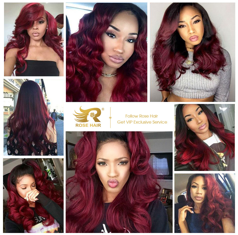 Rose Hair Human Virgin Hair Burgundy Red Color Lace Frontal Wig Body Wave Wig - Rose Hair