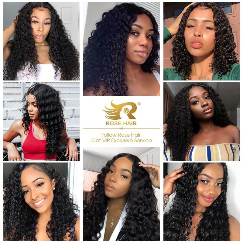 Rosehair 15A Grade Double Drawn Full End Unprocessed 3 Bundles Deep Wave Brazilian Hair Natural Black - Rose Hair