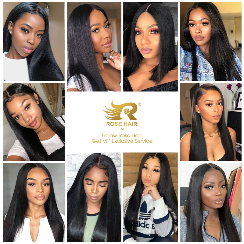 Rose Hair 13*4 Lace Frontal Straight Brazilian Human Virgin Hair Wig - Rose Hair
