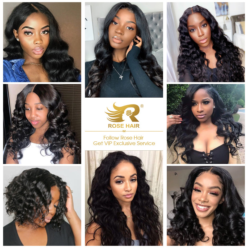 10A Grade Loose Wave Pre Plucked 13x4 Ear to Ear Lace Frontal with 3 Bundles Best Brazilian Virgin Hair - Rose Hair