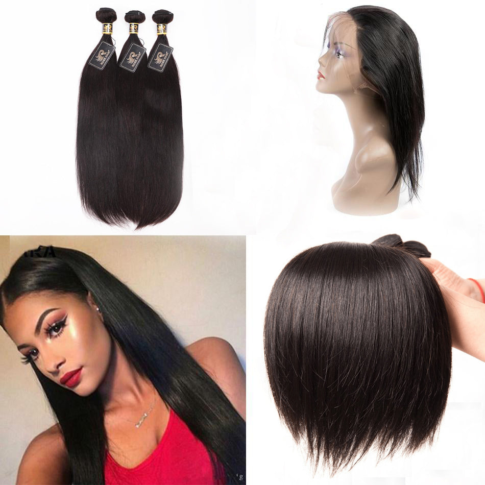 10A Grade 3 Bundles Brazilian Straight Virgin Hair With 1 PCS Per Plucked 360 Lace Frontal - Rose Hair
