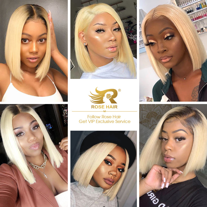 Rose Hair Pre-plucked Real Brazilian Human Virgin Hair 13*4 Transparent Lace Frontal T1b/613 Bob Wig - Rose Hair