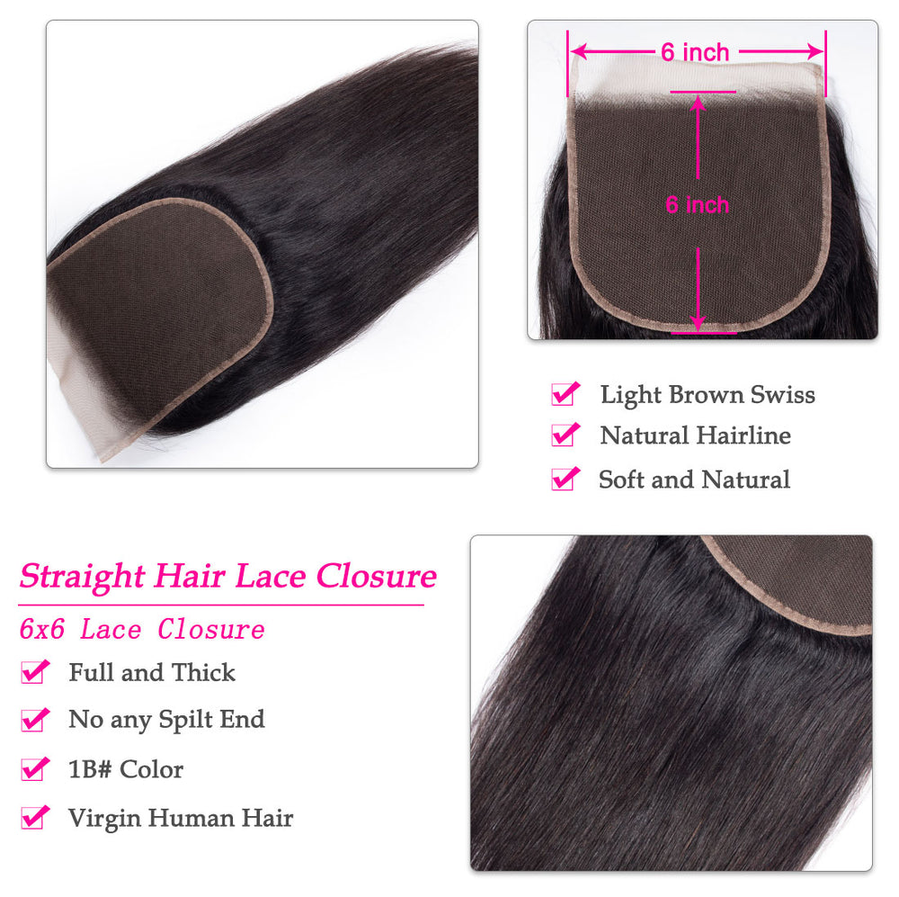 1PCS Brazilian Virgin 6x6 Straight Hair Light Brown Lace Closure New Arrival - Rose Hair