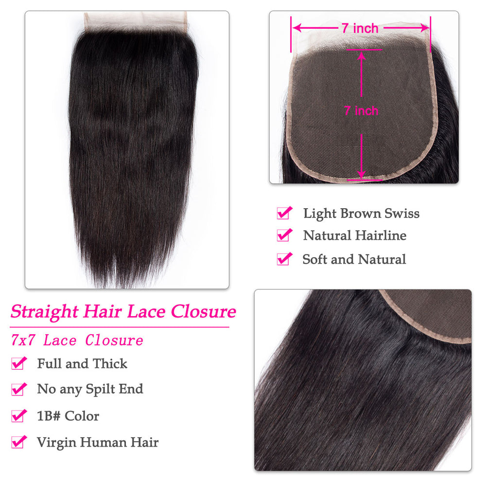 Brazilian Straight Virgin Hair 7x7 Lace Closure - Rose Hair