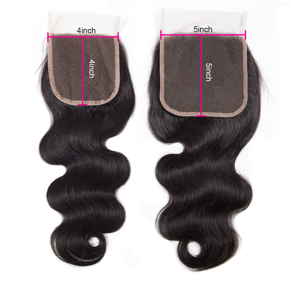 1PCS Brazilian Virgin Hair Body Wave 5x5 Light Brown Lace Closure Free Part - Rose Hair