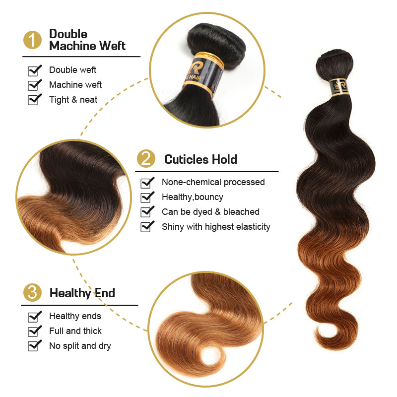 10A Grade 3 Bundles T1B/4/30 Color Brazilian Virgin Hair With 1 PCS Per Plucked 4*4 Lace Closure - Rose Hair