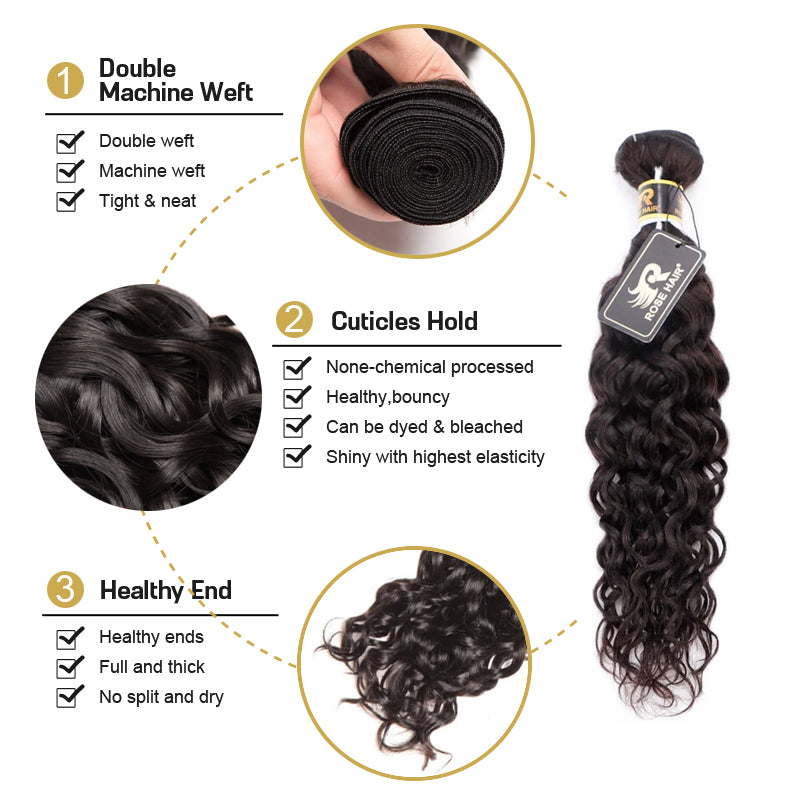 10A Grade 3 Bundles Brazilian Water Wave Virgin Hair with 1 PCS Per Plucked 4*4 Lace Closure - Rose Hair