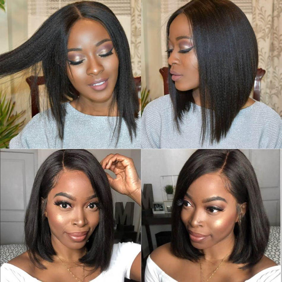 Rose Hair Best Human Hair Yaki Bob Wig 13*6 Lace Frontal Wig Human Hair - Rose Hair