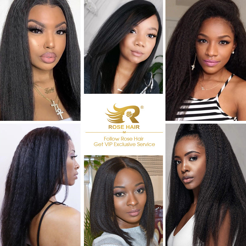 New Yaki Hairstyle Human Virgin Hair 13x6 Lace Frontal Wig - Rose Hair