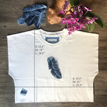 Load image into Gallery viewer, SEA JASPER Rescued t-shirts Upcycled Denim Feather Crop Top