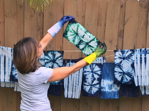 SEA JASPER ONE-OF-A-KIND Shibori Indigo Scrub Cap Upcycled from Defective T-shirts