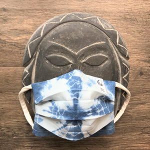 Four Layers - Filter pocket - Hand-dyed ONE-OF-A-KIND Shibori Indigo Face Mask with Removable Nose Bridge