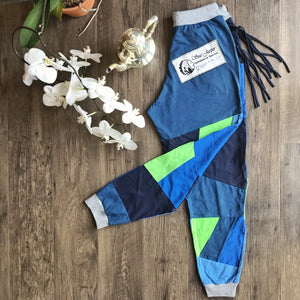 SEA JASPER ONE-OF-A-KIND Patchwork Sweatpants Handmade from Rescued Defective T-shirts