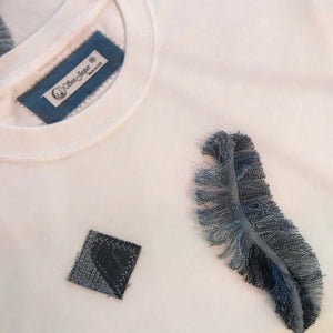 SEA JASPER Rescued t-shirts Upcycled Denim Feather Crop Top