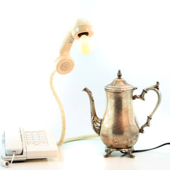 Vintage phone and sterling tea pot lamp by designer Tyagi Schwartz of Dog Tag Designs