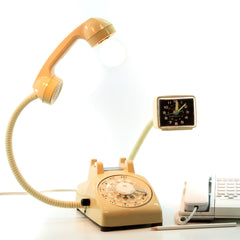 ROTARY PHONE ALARM CLOCK LAMP by DESIGNER TYAGI SCHWARTZ of DOG TAG DESIGNS