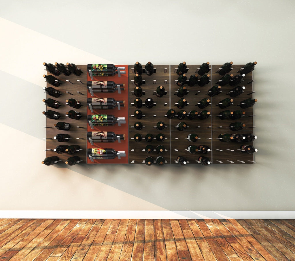 wood and metal wine racks