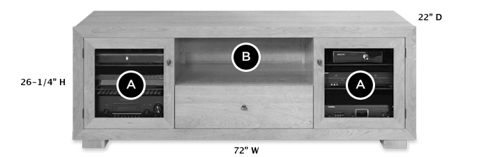 Solid Wood TV Console Dimensions - Haven EX 72-inch