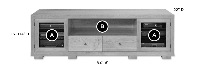 Solid Wood TV Console Dimensions - Haven EX 82-inch