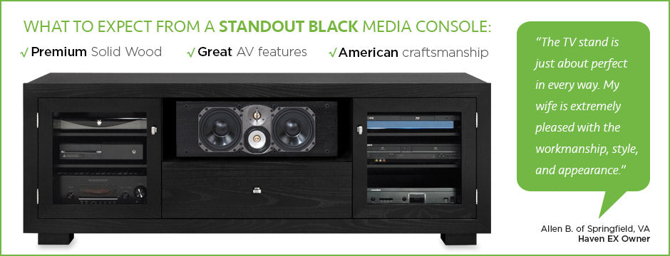 black media consoles by standout designs