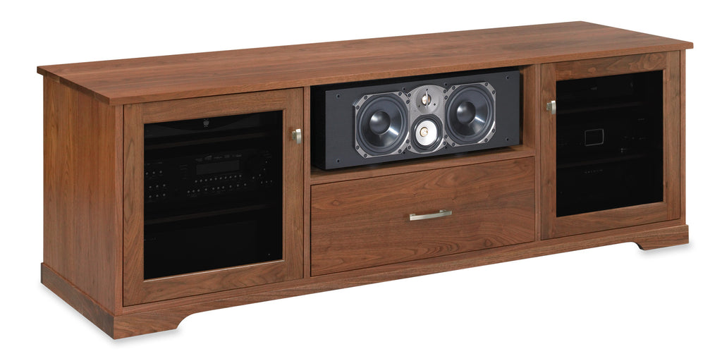 Solid Walnut Media Console with Paradigm CC-590 Center Channel Speaker. Made in USA.