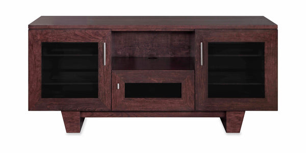 "The Quest 64"" Solid Wood Media Console Espresso Expresso Cherry 3 Doors and Speaker Shelf"