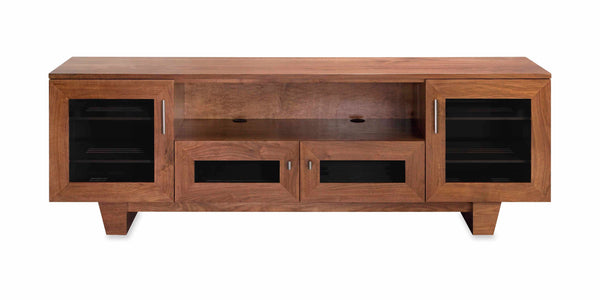 "The Quest 85"" Solid Wood Media Console Rose on Cherry 4 Doors"