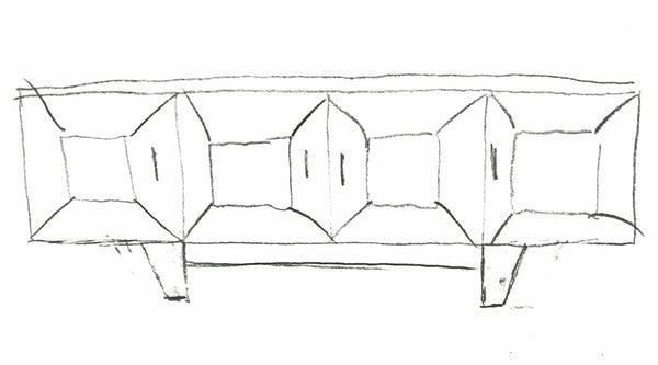 Hand sketch of the upcoming new media console style by Standout Designs