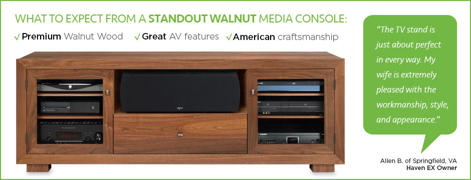 walnut media console - top quality - made in USA