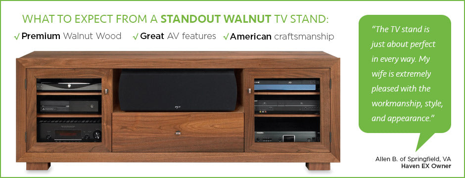 premium walnut tv stand by standout designs