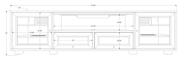 "Dimensions of the Majestic EX 82"" Media Console / TV Stand for AV"