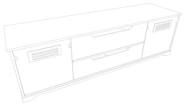 "Standout Designs Horizon EX 81"" Solid Wood Media Console - Back Angle Sketch"