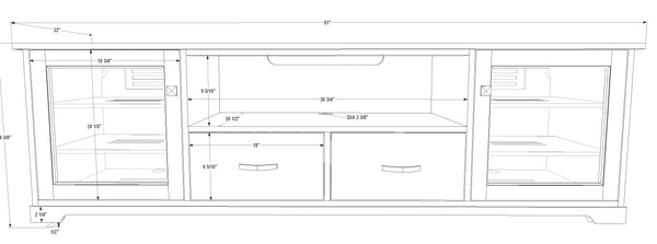 "Standout Designs Horizon EX 81"" Solid Wood Media Console - Dimensions"