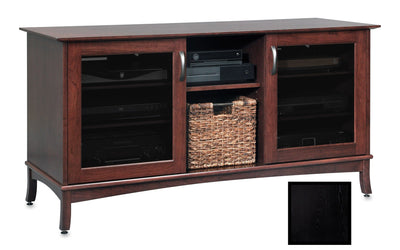 Solid Wood Media Console | Horizon EX 60-inch – Black on Ash, Gray Tinted Door Glass