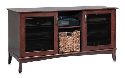 Solid Wood Media Console | Horizon EX 60-inch – Espresso on Cherry, Gray Tinted Door Glass