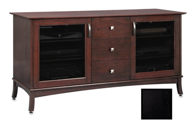 Solid Wood Media Console | Horizon EX 60-inch with Drawers – Black on Ash, Gray Tinted Door Glass