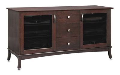 Solid Wood Media Console | Horizon EX 60-inch with Drawers – Espresso on Cherry, Gray Tinted Door Glass