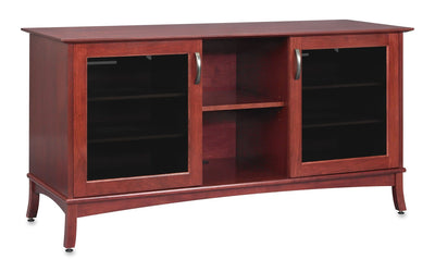 Solid Wood Media Console | Horizon EX 60-inch – Rose on Cherry, Gray Tinted Door Glass