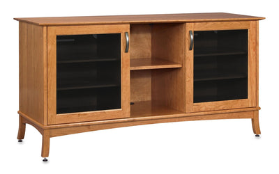 Solid Wood Media Console | Horizon EX 60-inch – Sunrise on Cherry, Gray Tinted Door Glass
