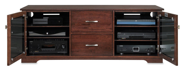 Espresso TV Console Houses Lots of Gear