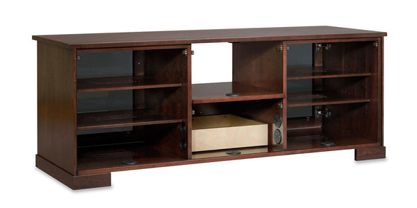 62 TV Console -  Wood Media Console with Wide Center Shelf - Removable Backs and Wheels for Easy Wire Management