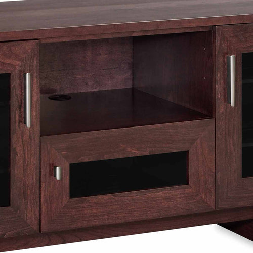 media console with center channel speaker shelf