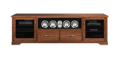 Horizon EX 82-inch Solid Wood Media Console (Center Speaker Shelf and 2 Media Drawers)-Standout Designs