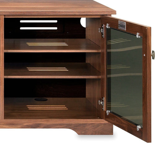 media console with wide and deep spaces for AV gear