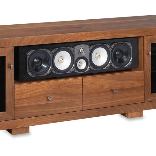 media console with wide center channel speaker shelf paradigm CC690