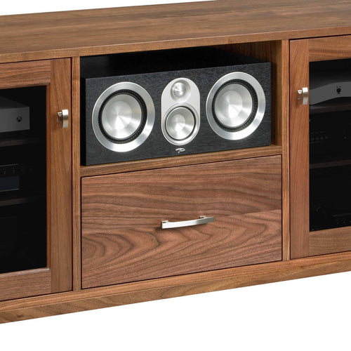 media console with wide center channel speaker shelf paradigm prestige 45c