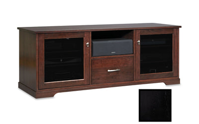 "Solid Wood Media Console | Horizon EX 62"" – Black on Ash, Gray Tinted Door Glass"