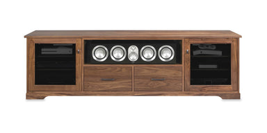 Customized Horizon EX 82-inch Solid Wood Media Console (Center Speaker Shelf and 2 Media Drawers)